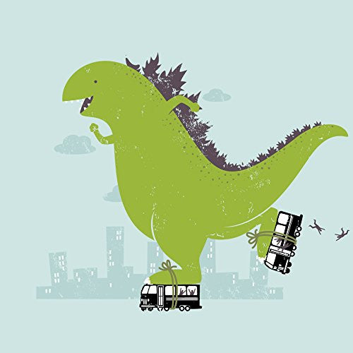 'Roller Skating' Funny Classic Movie Monster Skating on City Bus 18x18 - Vinyl Print Poster