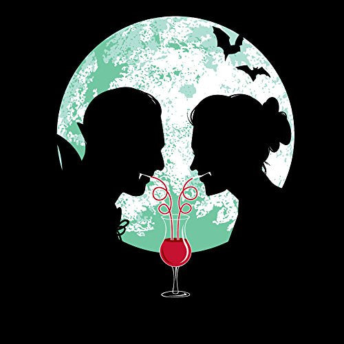 'Bloody Couple' Vampire Date Silhouettes w/ Moon & Bats 18x18 - Vinyl Print Poster