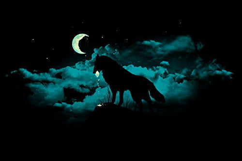 'Waning Crescent' Night Moon w/ Howling Wolf 18x12 - Vinyl Print Poster