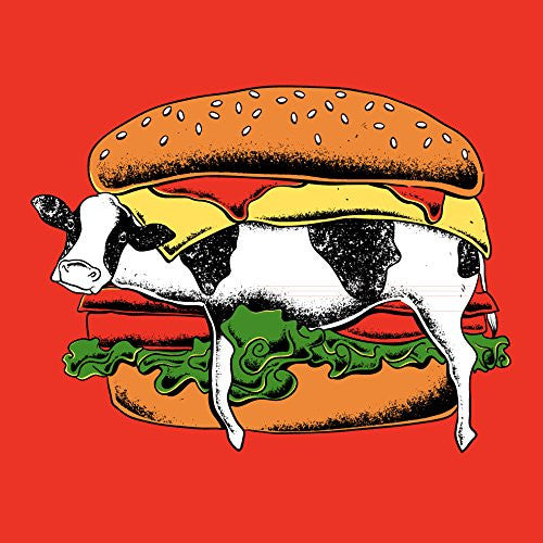 'Still Yum Yum' Funny Cow in Hamburger Bun Cartoon 18x18 - Vinyl Print Poster