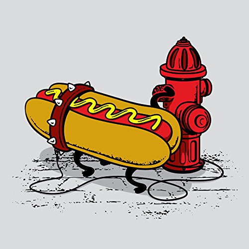 'Hotdawg' Funny Hot Dog Chained to Fire Hydrant 18x18 - Vinyl Print Poster