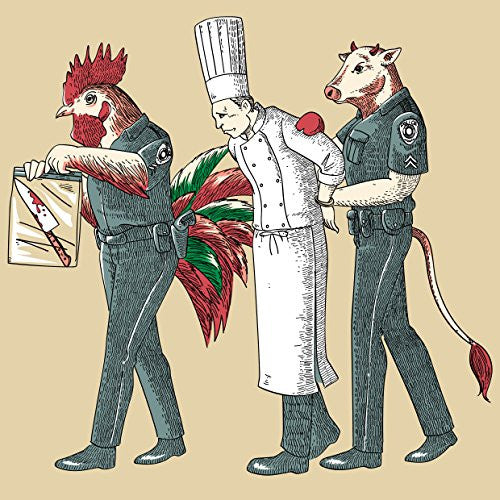 'Murder Chef' Funny Vegetarian Humor Chicken & Cow Police 18x18 - Vinyl Print Poster
