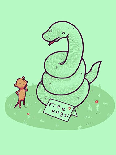 'Free Hugs' Funny Coiled Snake Offering Free Hugs to Mouse 18x24 - Vinyl Print Poster