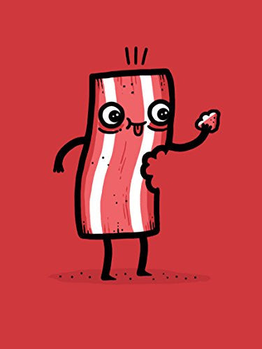 'I'm Delicious' Funny Slice of Bacon Eating Itself 18x24 - Vinyl Print Poster