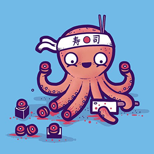 'Octosushi' Funny Japanese Octopus Chef Cutting Tentacles Making Sushi 18x18 - Vinyl Print Poster
