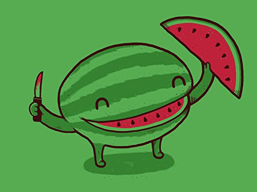 'Slice of Happiness' Watermelon w/ Smile Shape Slice Cut Out 24x18 - Vinyl Print Poster