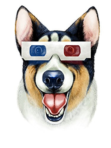'Corgi 3D' Funny Puppy Dog Wearing 3D Movie Glasses 18x24 - Vinyl Print Poster