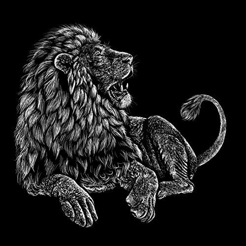 'Majestic Lion' Big Cat Jungle King Black & White Artwork 18x18 - Vinyl Print Poster
