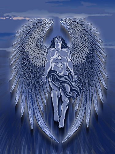 Winged Man Angel Blue Design Artwork 18x24 - Vinyl Print Poster