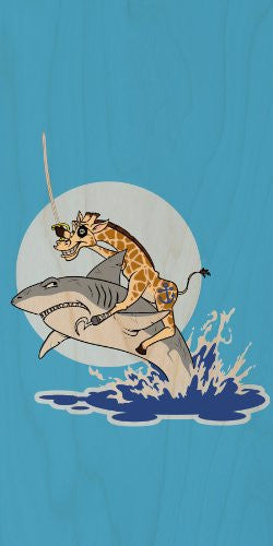 'Pirate Giraffe' Riding Shark Jumping From Water - Plywood Wood Print Poster Wall Art