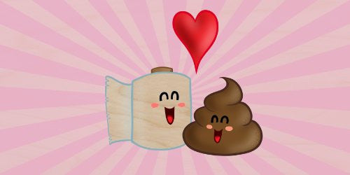 'Best Friends' Funny Toilet Paper & Poop in Love w/ Heart - Plywood Wood Print Poster Wall Art