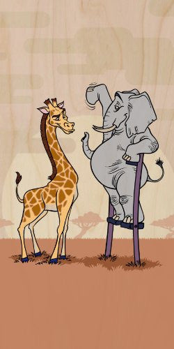 'Elephant Stilts' Standing w/ Giraffe - Plywood Wood Print Poster Wall Art