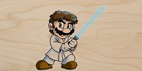 'Plumbing Wars' Main Hero Character Funny Video Game & Space Movie Parody - Plywood Wood Print Poster Wall Art
