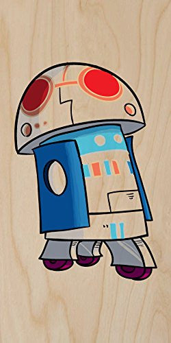 'Plumbing Wars' Rolling Beeping Robot Character Funny Video Game & Space Movie Parody - Plywood Wood Print Poster Wall Art