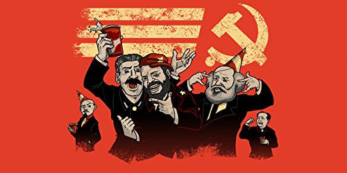 'Communist Party' Funny Pun Famous Communist Leaders Partying - Plywood Wood Print Poster Wall Art