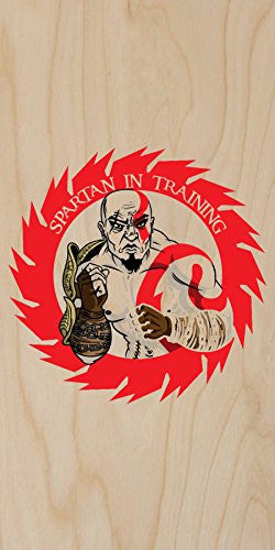 'Spartan In Training' Cartoon Red Design - Plywood Wood Print Poster Wall Art