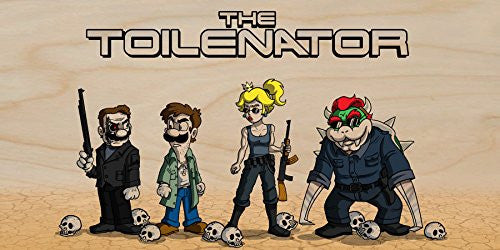 'The Toilenator' Funny Robot Movie Parody - Plywood Wood Print Poster Wall Art