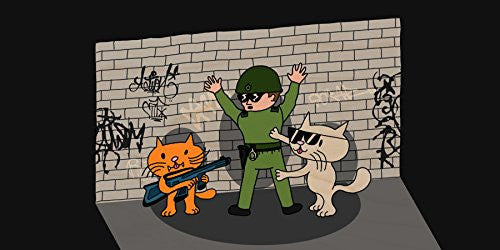 'Bad Cats w/ Cop' Funny Cartoon Tagged Brick Wall - Plywood Wood Print Poster Wall Art