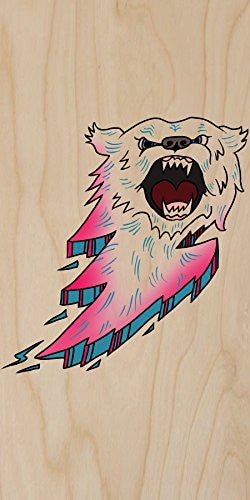 'Bear Bolt Lightning' Animal Cartoon Logo - Plywood Wood Print Poster Wall Art