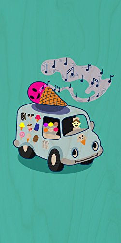 'Ice Cream Truck' Funny Ice Cream Cone Singing - Plywood Wood Print Poster Wall Art