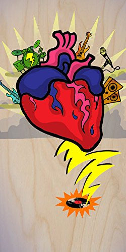 'Rock N Roll Heart' w/ Guitar & Drums Cartoon - Plywood Wood Print Poster Wall Art