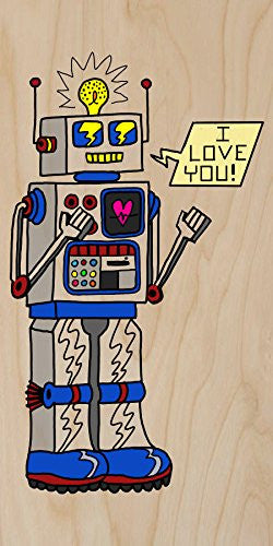 '80's Love Robot' Funny Cute Vintage Robot w/ Feelings - Plywood Wood Print Poster Wall Art