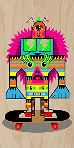 'Punk Skate Totem' Skateboarding Colorful Totem Poll Cartoon - Plywood Wood Print Poster Wall Art