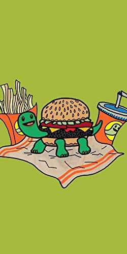 'Turtle Burger' Funny Turtle Shell Bun Burger w/ Fries Meal - Plywood Wood Print Poster Wall Art