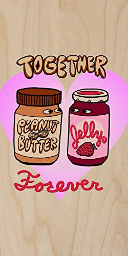 'PBJ Forever' Funny Love Heart Together Romance - Plywood Wood Print Poster Wall Art