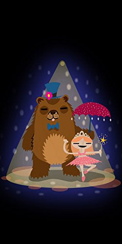 'Bear & Ballerina' Funny Dancing Couple - Plywood Wood Print Poster Wall Art
