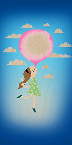 'Bubble Gum Girl' Funny Floating Away - Plywood Wood Print Poster Wall Art