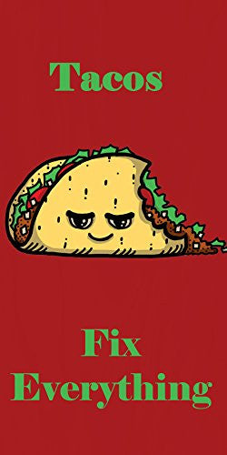 'Tacos Fix Everything' Food Humor Cartoon - Plywood Wood Print Poster Wall Art