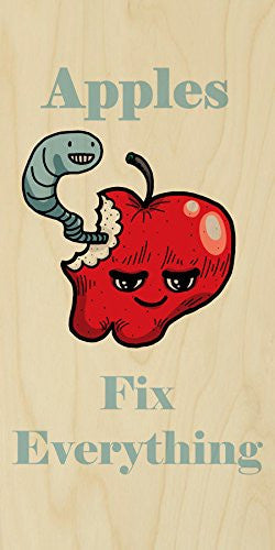 'Apples Fix Everything' Food Humor Cartoon - Plywood Wood Print Poster Wall Art