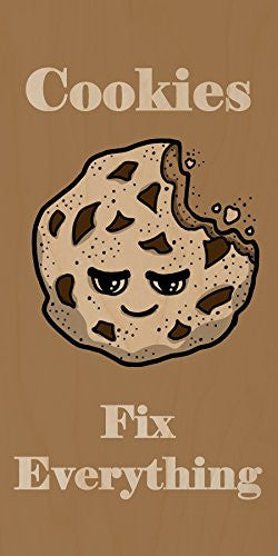 'Cookies Fix Everything' Food Humor Cartoon - Plywood Wood Print Poster Wall Art