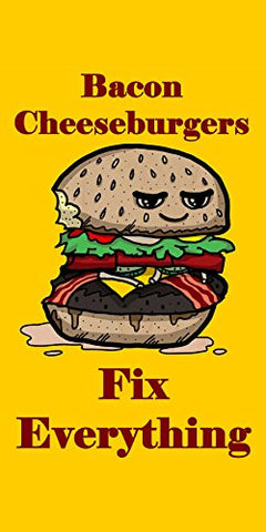 'Bacon Cheeseburgers Fix Everything' Food Humor Cartoon - Plywood Wood Print Poster Wall Art