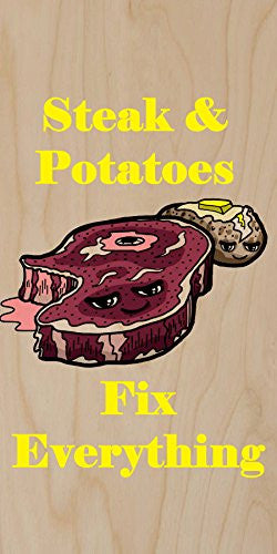 'Steak & Potatoes Fix Everything' Food Humor Cartoon - Plywood Wood Print Poster Wall Art