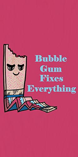 'Bubblegum Fixes Everything' Food Humor Cartoon - Plywood Wood Print Poster Wall Art