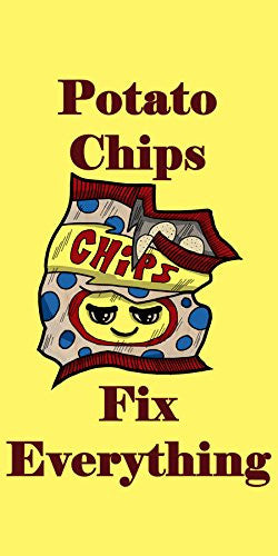 'Potato Chips Fix Everything' Food Humor Cartoon - Plywood Wood Print Poster Wall Art