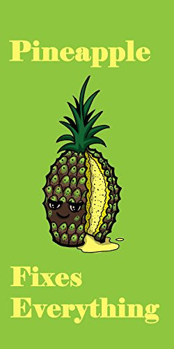 'Pineapple Fixes Everything' Food Humor Cartoon - Plywood Wood Print Poster Wall Art