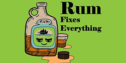 'Rum Fixes Everything' Food Humor Cartoon - Plywood Wood Print Poster Wall Art