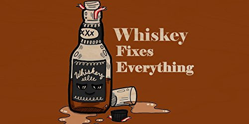 'Whiskey Fixes Everything' Food Humor Cartoon - Plywood Wood Print Poster Wall Art