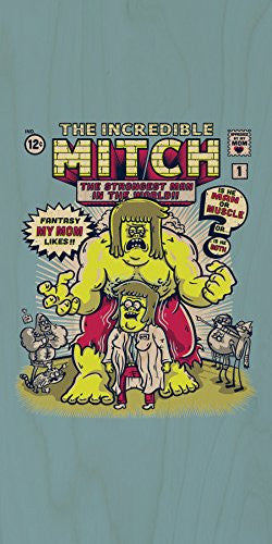 'The Incredible Mitch' Cartoon Parody - Plywood Wood Print Poster Wall Art