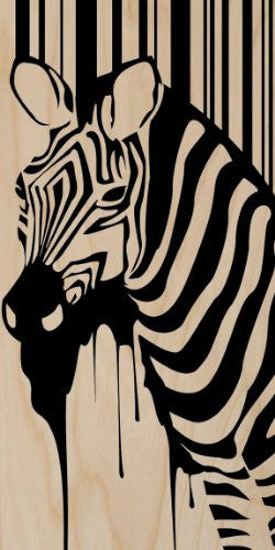 Zebra Black Striped Paint Drip Design - Plywood Wood Print Poster Wall Art