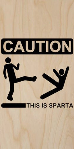 Yellow Caution Sign 'This is Sparta' - Plywood Wood Print Poster Wall Art