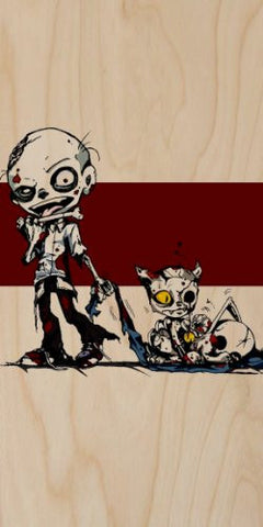 Zombie Dragging Zombie Cat - Plywood Wood Print Poster Wall Art