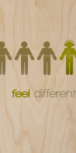 'Feel Different!' Person w/ Headphones Silhouette - Plywood Wood Print Poster Wall Art
