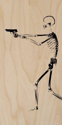 X-Ray Skeleton w/ Gun on Black - Plywood Wood Print Poster Wall Art