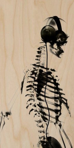 X-Ray Skeleton Listening to Music on Headphones - Plywood Wood Print Poster Wall Art