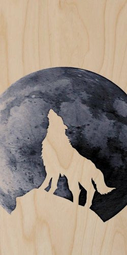 Wolf Dog Howling At the Moon Silhouette - Plywood Wood Print Poster Wall Art