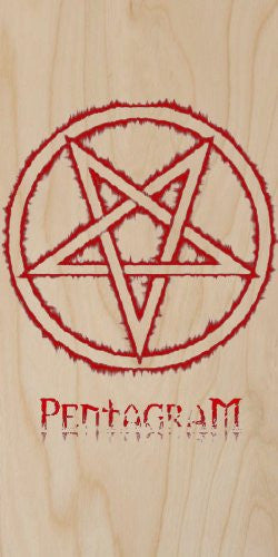 'Pentagram' w/ Red Fire Outline - Plywood Wood Print Poster Wall Art